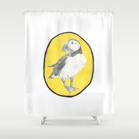 puffin Shower Curtains featuring Puffin by csmalcolm Illustration