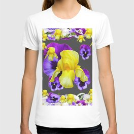 YELLOW IRIS PURPLE & WHITE PANSY GARDEN ART T-shirt
