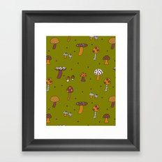 Mushrooms Green Framed Art Print