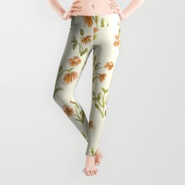 Orange Vintage Floral Pattern Leggings