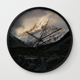 mount cook during golden hour Wall Clock