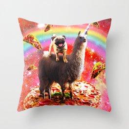 Space Pug Riding Llama Unicorn - Pizza & Taco Throw Pillow