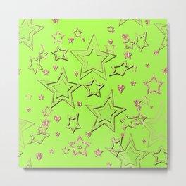 Bright green , neon , stars Metal Print