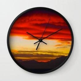 Red Horizon Wall Clock