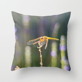 Dragonfly Perched On Lavender Throw Pillow