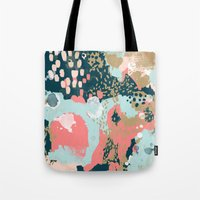 college Tote Bags featuring Eisley - Modern fresh abstract painting in bright colors perfect for trendy girls decor college by CharlotteWinter