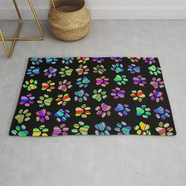 Striped Puppy Paw Print Rug