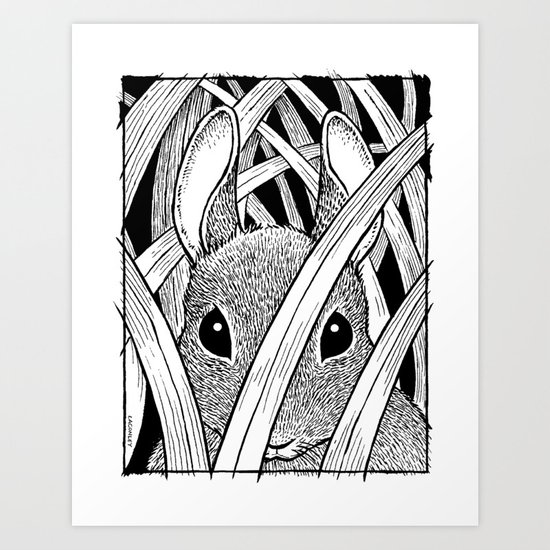 Bunny in the Grass Art Print