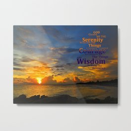 Serenity Prayer Sunset By Sharon Cummings Metal Print
