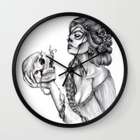 sugar skull Wall Clocks featuring Sugar Skull by April Alayne
