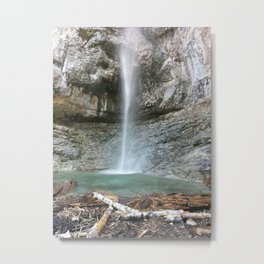 Majestic Waterfall | Mountainous Terrain | Natural | Outdoors Metal Print