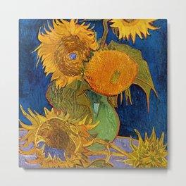 Six Sunflowers in Vase still life portrait painting by Vincent van Gogh Metal Print