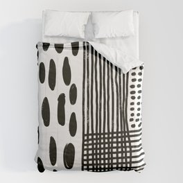Play minimalist abstract dots dashes and lines painterly mark making art print Comforters
