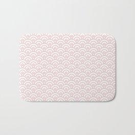 Elegant chic blush pink white scallop wave pattern Bath Mat