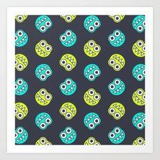 Blue Green Cute Bugs Pattern Art Print