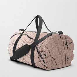 Paris France Minimal Street Map - Rose Gold Glitter on Black Duffle Bag