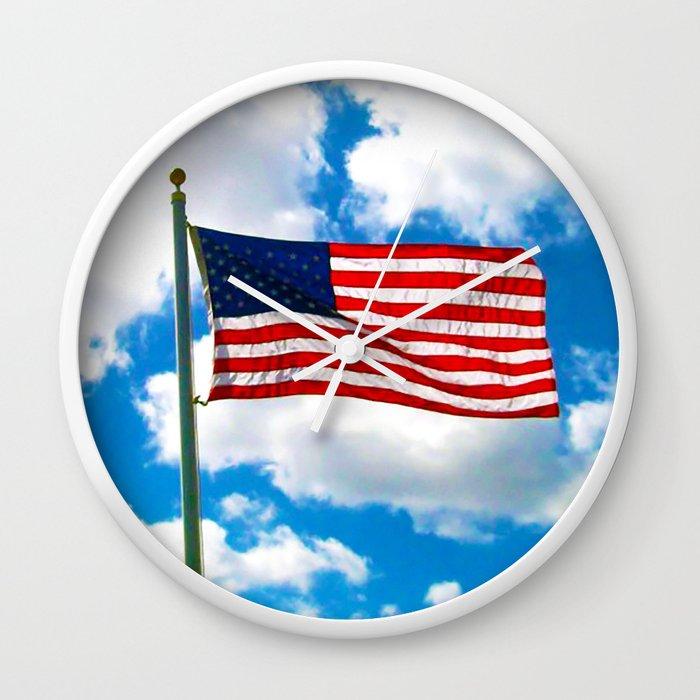 American Flag in Big Blue sky Wall Clock