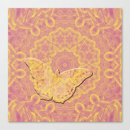 embossed butterfly on mandala Canvas Print
