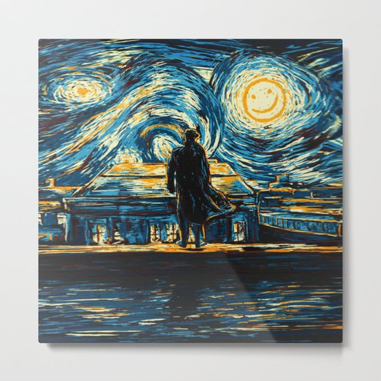 Starry Night Sherlock Holmes Art Painting Metal Print