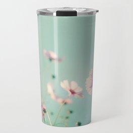 Pink Aqua Blue Flower Photography, Teal Floral Nature Photo, Turquoise Nursery Botanical Picture Travel Mug