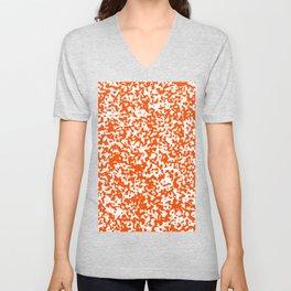 Small Spots - White and Dark Orange Unisex V-Neck