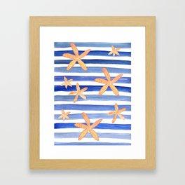 Starfish on blue stripes watercolor design Framed Art Print