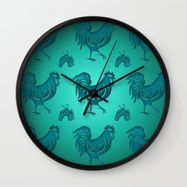 A rustic rooster textile seamless decoration on a green background,  Wall Clock