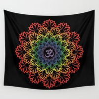plain Wall Tapestries featuring Namaste Lotus (Plain) by artsytoocreations
