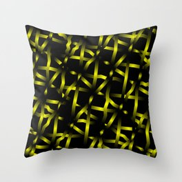 Mirrored square shards of curved yellow intersecting ribbons and dark lines. Throw Pillow