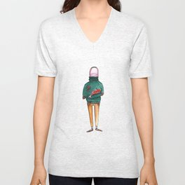 A Thumb in a Turtleneck Unisex V-Neck