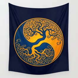 Blue and Yellow Tree of Life Yin Yang Wall Tapestry