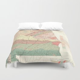 Vintage Agricultural Map of Alabama (1882) Duvet Cover