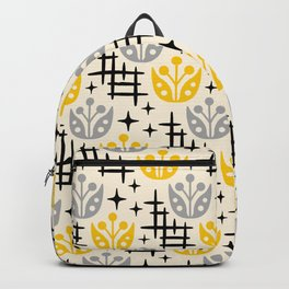 Mid Century Modern Space Flower Pattern Gray and Yellow Backpack