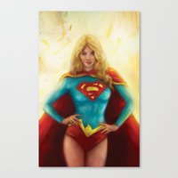 supergirl Canvas Prints featuring Supergirl by SachsIllustration