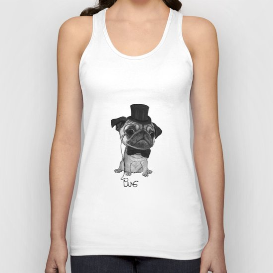Pug (gentle pug) B&W version Unisex Tank Top