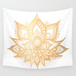 Gold Lotus Flower Wall Tapestry