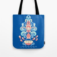 deco Tote Bags featuring Ponyo Deco by Ashley Hay
