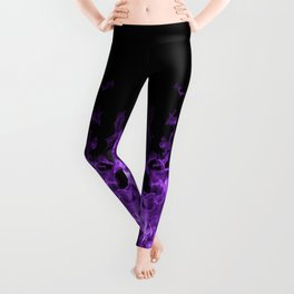 Purple Flames on black Leggings