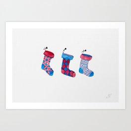 Holiday socks Art Print