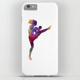 Woman boxer boxing kickboxing silhouette isolated 01 iPhone Case