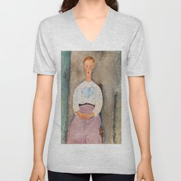 "Amedeo Modigliani ""Girl with a Polka-Dot Blouse (Jeune fille au corsage à pois)"" Unisex V-Neck"