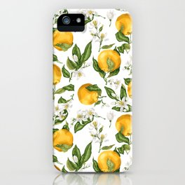 Citrus OrangeTree Branches with Flowers and Fruits iPhone Case