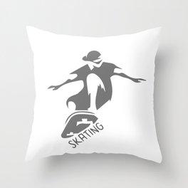 Skateboarding Graphics Shirt Throw Pillow