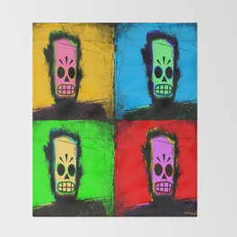 The Many Faces of Manny Calavera Throw Blanket