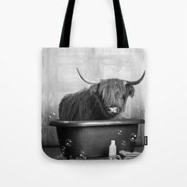 Highland Cow in the Tub Tote Bag