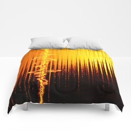 Sound wave orange Comforters