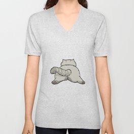 Grey Sleeping Cat Unisex V-Neck