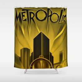"Vintage 1927 ""Metropolis"" Movie Lithograph Advertisement Poster Shower Curtain"