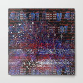 4th of July Fireworks Abstract Metal Print