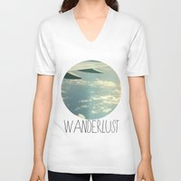 airplane V-neck T-shirts featuring wanderlust airplane by shans